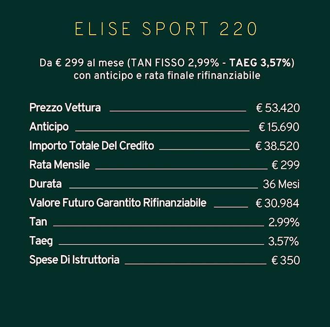 Offerta Lotus Elise Sport 220