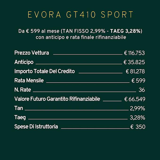 Offerta Lotus Evora Sport GT410